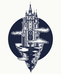 Medieval castle tattoo art. Ancient castle on the mountain. Medieval castle t-shirt design. Symbol of the fairy tale, dream, magic