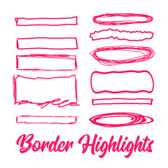 Hand drawn highlighter elements. borders