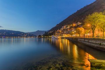Beautiful view of Lake Como at dusk, Lombardia - Italy