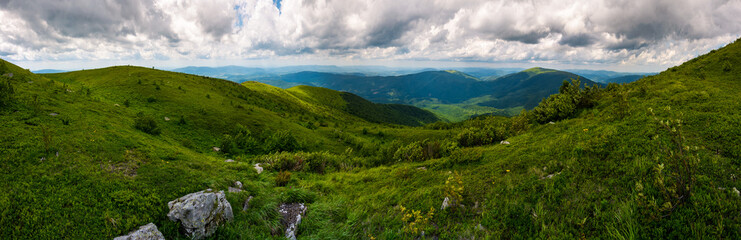 grassy hillside of Carpathians on overcast day. gorgeous panorama with rolling hill and mountain ridge in the distance. popular tourist destination - Runa mountain, TransCarpathian region Ukraine