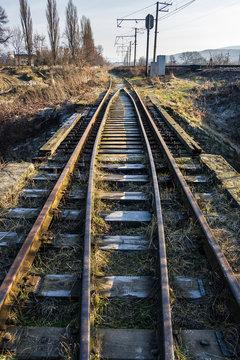 old railroad in springtime. transportation background