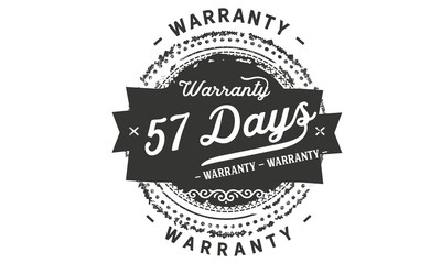 57 days warranty icon vintage rubber stamp guarantee