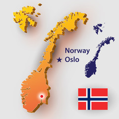 Map Norway. Vector silhouette of the Norwegian flag. The country's capital - Oslo.