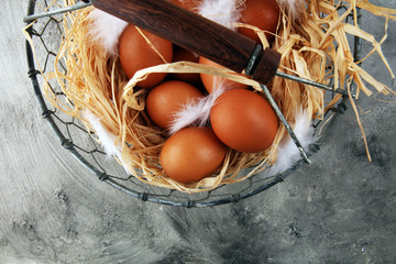 Egg. Fresh farm eggs on a wooden rustic background.