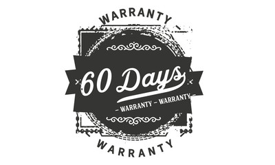 60 days warranty icon vintage rubber stamp guarantee