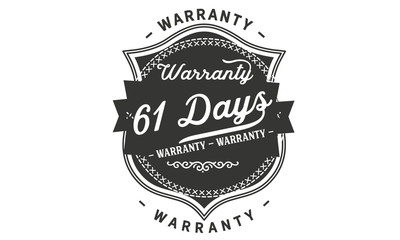 61 days warranty icon vintage rubber stamp guarantee