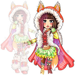 Cute fashion foxy girl with fox tail and ears cartoon character, little red riding hood hand drawn vector illustration