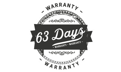 63 days warranty icon vintage rubber stamp guarantee