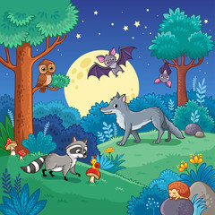 Garden Poster Pony Background with Animals in the night forest. Vector illustration with wolf, raccoon, bat in children's cartoon style.