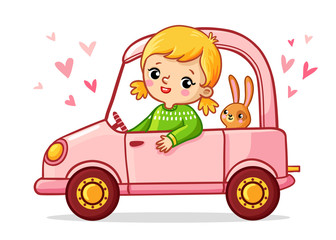 Girl with a rabbit is riding a pink car. Cute vector illustration of children's cartoon style.
