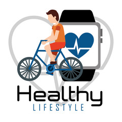 man riding bike smartphone heart rate healthy lifestyle vector illustration