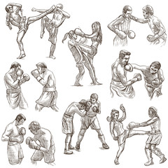 Box. Boxing Sport. Collection of boxing positions of some sportmen, boxers. An hand drawn set on white. Isolated.