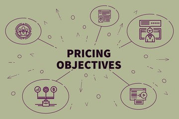 Conceptual business illustration with the words pricing objectives