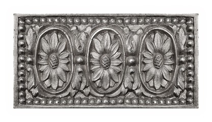 Silver decorative element in the form of a flower
