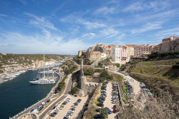Bonifacio harbor, which is located at the southern end of the Corsica island, France