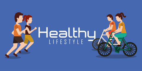 sporty couples exercise active healthy lifestyle banner vector illustration