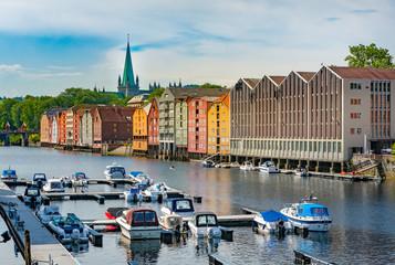Trondheim old city view. Norway, Scandinavia, Europe