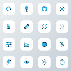 Image icons colored set with healing, wide angle, gradient and other eyesight