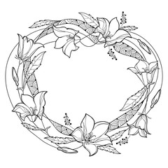 Vector round wreath with outline Campanula or Bellflower or Bluebell flower, leaf and bud in black isolated on white background. Ornate plant in contour style for summer design and coloring book.