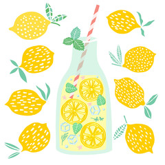 Vector lemonade illustration Lemon juice drink
