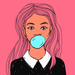 Young cute woman with bubble gum, long pink hair and white collar. Hand drawn pop art vector illustration.