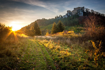 Landscape at sunset with ruin of medieval castle Lietava near Zilina town, Slovakia, Europe.