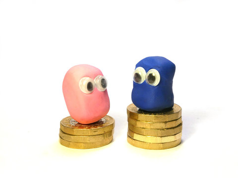 Concept of gender pay gap shown by cute blue and pink plasticine blobs sitting on piles of coins of different heights