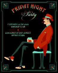 Gentleman with a glass of whiskey and a cigar. Retro Party invitation card. Handmade drawing vector illustration. Art Deco style.
