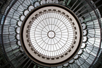Geometric construction of glass and concrete in frankfurt, germany. Round glass dome. reflections, sector, segment, sphere, sphere, cylindrical shap