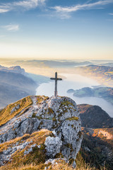 Fototapete - Schafberg mountain summit with cross at sunset, Salzkammergut, Austria