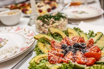 salad with shrimp on a festive table
