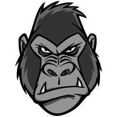 Gorilla Head Illustration - A vector cartoon illustration of a Gorilla Head mascot.