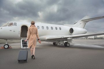Full length female keeping baggage while going to private jet. She turning back to camera. Trip concept Wall mural