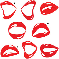 Sexy Red Lips and Mouth Cartoon Vector Collection