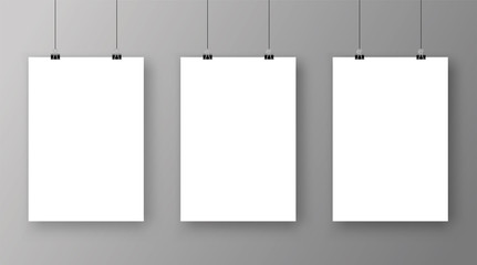 Empty A4 sized vector paper frame mockup hanging with paper clip - stock vector.