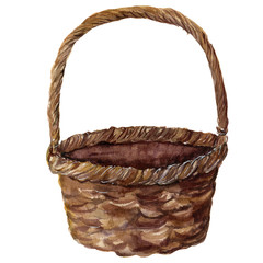 Watercolor straw basket. Hand painted wicker pad isolated on white background. Realistic illustration for design or print.