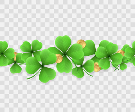 Horizontal seamless border of realistic clovers with golden coins. Vector background for design of holiday banners, promotional flyers for St. Patrick's day. Isolation from the transparent background.