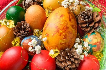 Easter eggs. Colorful Easter eggs with decoration.