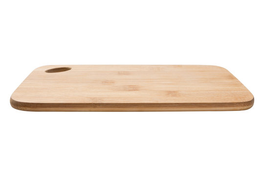 wooden cutting board on white background, side view