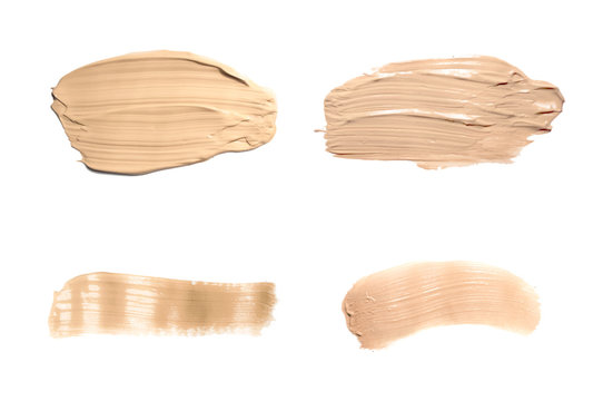 Set concealer smear cosmetic cream isolated on white. Liquid foundation tone cream smudged,  brown stroke texture. Makeup Vector