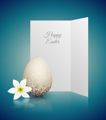 White color realistic egg with golden metallic floral pattern and Happy Easter card. White narcissus flower on turquoise background with reflection. Vintage banner, card, poster. Simple design