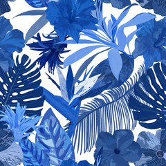 Floral seamless pattern. Background with isolated blue hand draw