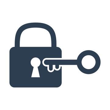 Lock and key icon on white background.