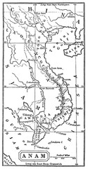 victorian engraving of a map of Siam, or modern Southeast Asia