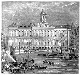Fototapete - victorian engraving of the Royal Palace, Amsterdam
