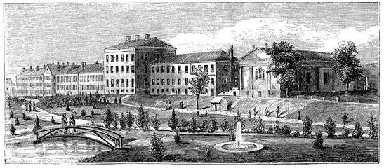 Wall Mural - victorian engraving of the US Naval Academy, Annapolis