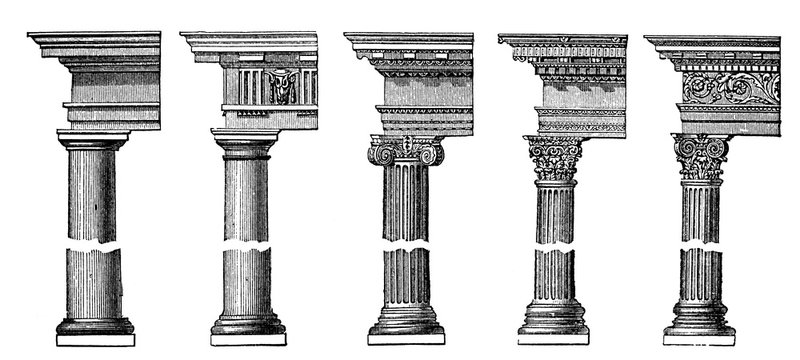 victorian engraving of different ancient Greek pillars