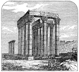 Wall Mural - victorian engraving of the Temple of Jupiter Olympus, Athens