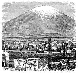 Fototapete - victorian engraving of Misti Volcano, Arequipa, Peru