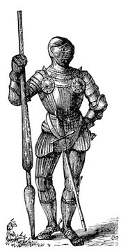 victorian engraving of a medieval knight